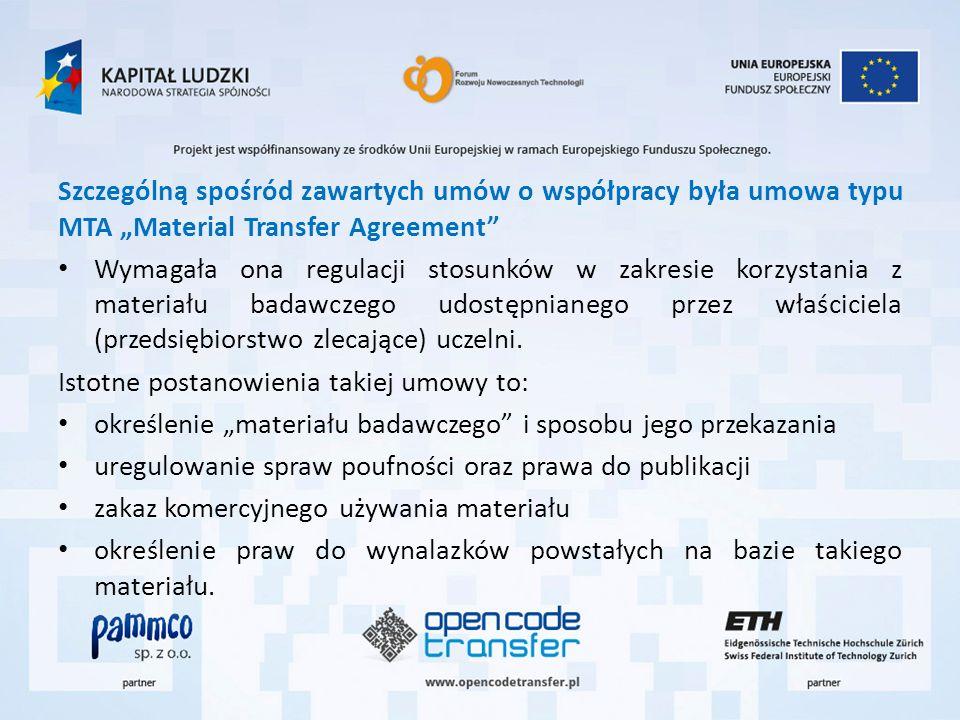 """Szczególną spośród zawartych umów o współpracy była umowa typu MTA """"Material Transfer Agreement"""