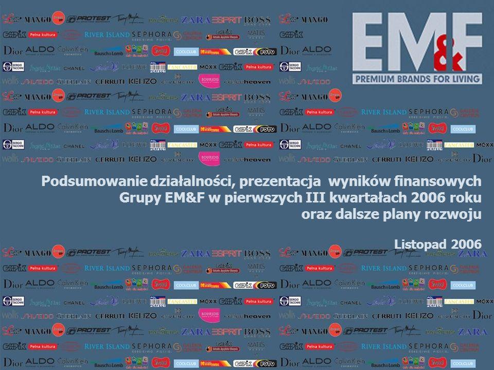 Podsumowanie działalności, prezentacja wyników finansowych Grupy EM&F w pierwszych III kwartałach 2006 roku oraz dalsze plany rozwoju Listopad 2006