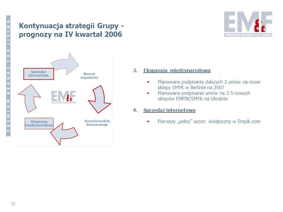 Kontynuacja strategii Grupy - prognozy na IV kwartał 2006