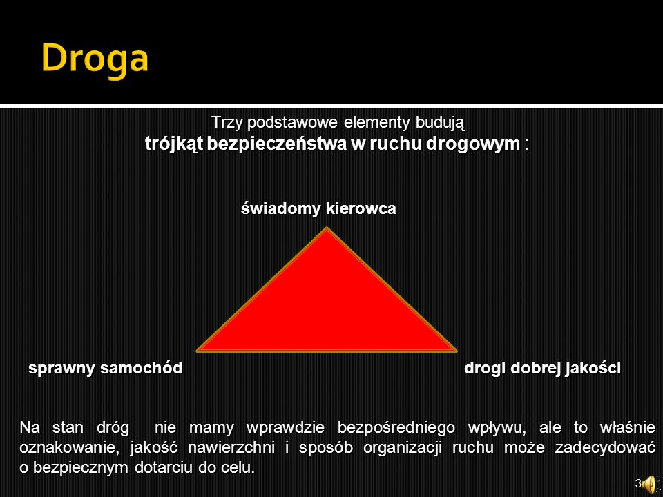 Droga Trzy podstawowe elementy budują trójkąt bezpieczeństwa w ruchu drogowym : świadomy kierowca.