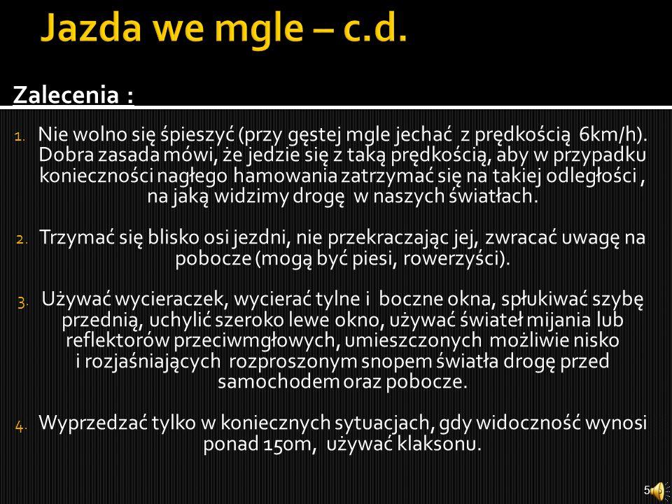 Jazda we mgle – c.d. Zalecenia :