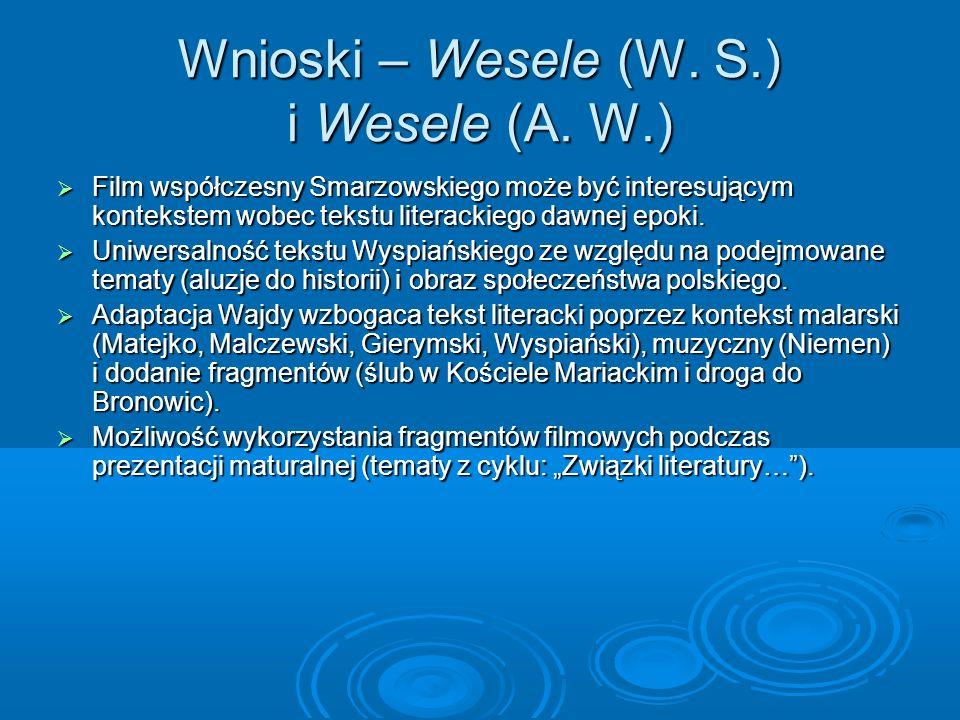 Wnioski – Wesele (W. S.) i Wesele (A. W.)