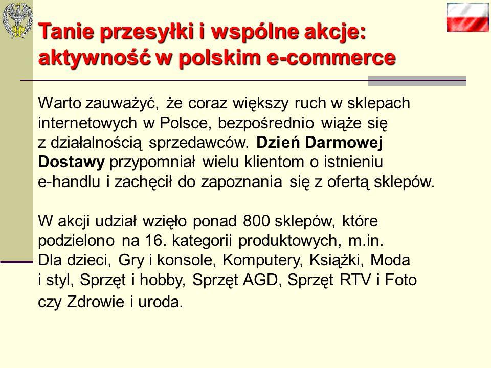 Tanie przesyłki i wspólne akcje: aktywność w polskim e-commerce Warto zauważyć, że coraz większy ruch w sklepach internetowych w Polsce, bezpośrednio wiąże się z działalnością sprzedawców.