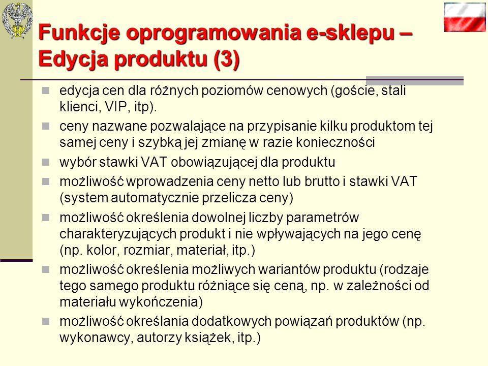 Funkcje oprogramowania e-sklepu – Edycja produktu (3)