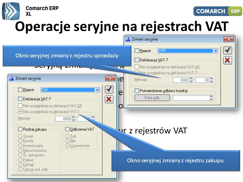Operacje seryjne na rejestrach VAT