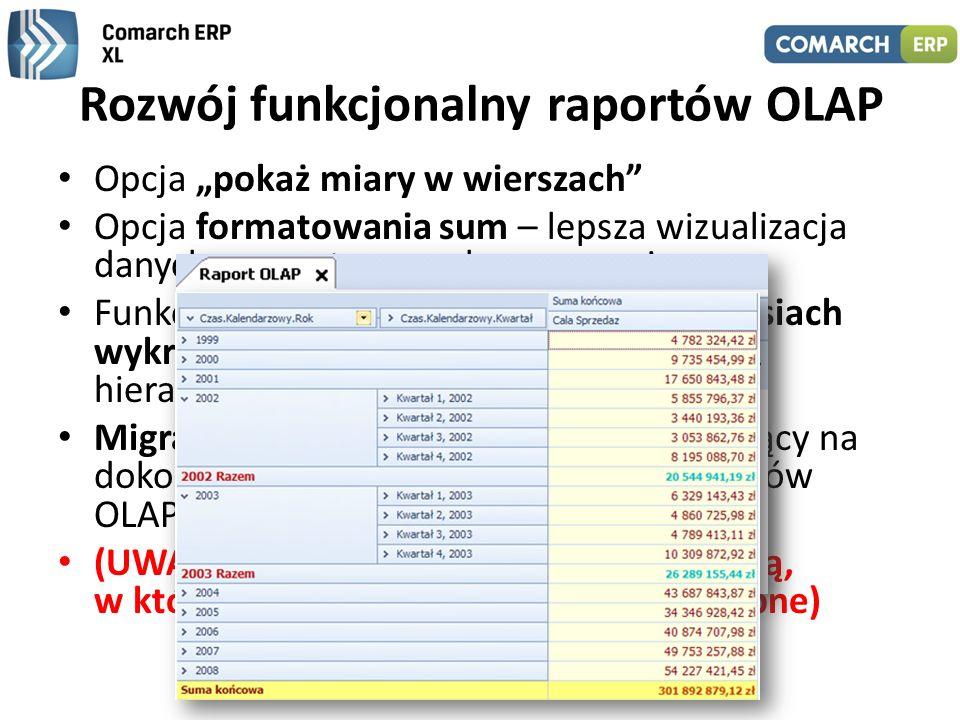 Rozwój funkcjonalny raportów OLAP