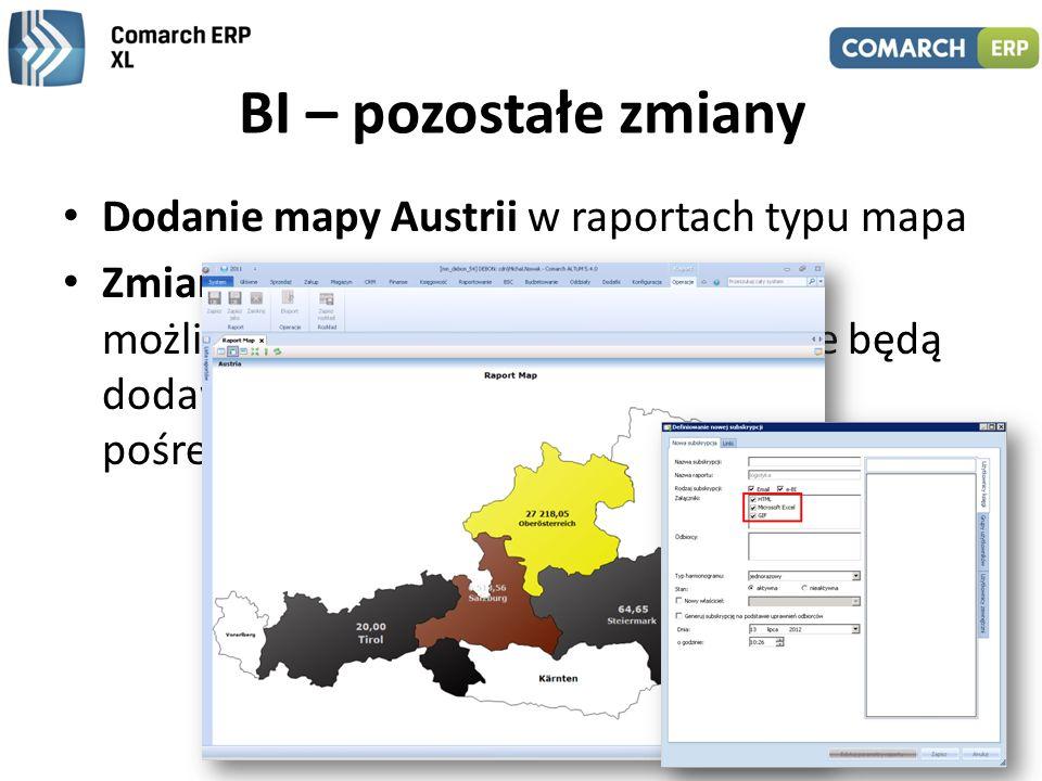 BI – pozostałe zmiany Dodanie mapy Austrii w raportach typu mapa
