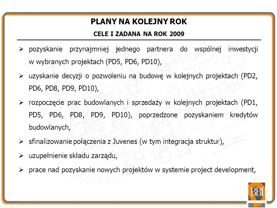 PLANY NA KOLEJNY ROK CELE I ZADANA NA ROK 2009