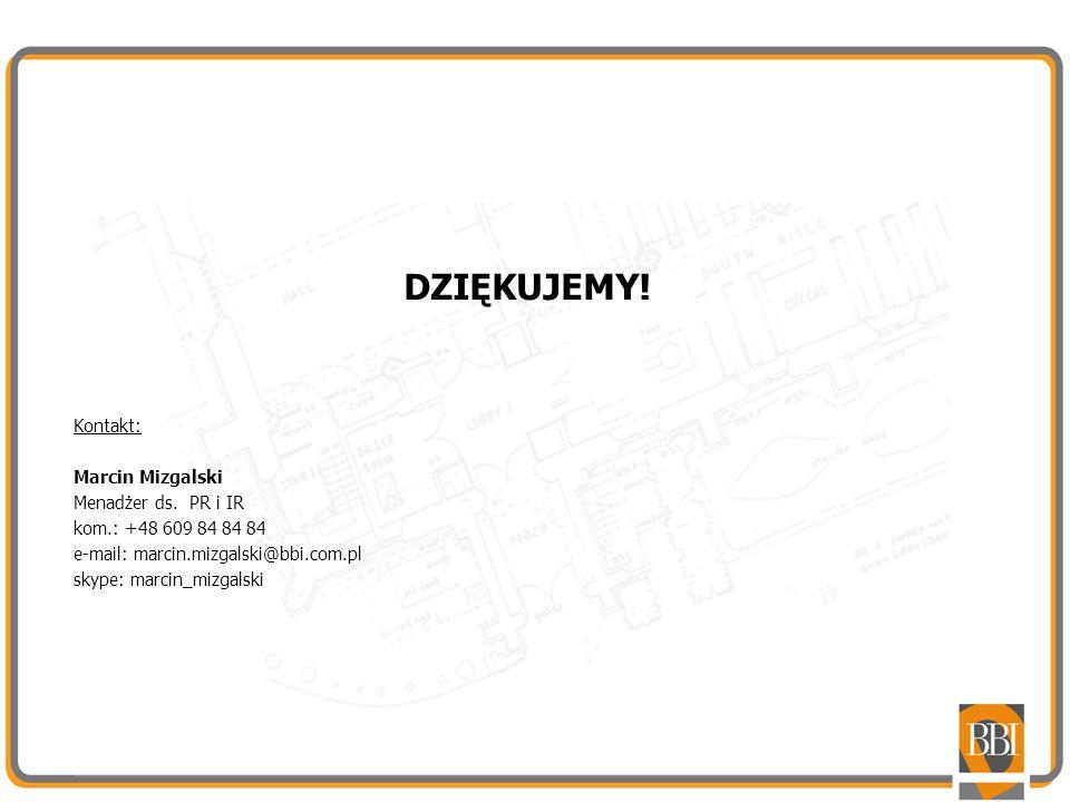 DZIĘKUJEMY! Kontakt: Marcin Mizgalski Menadżer ds. PR i IR
