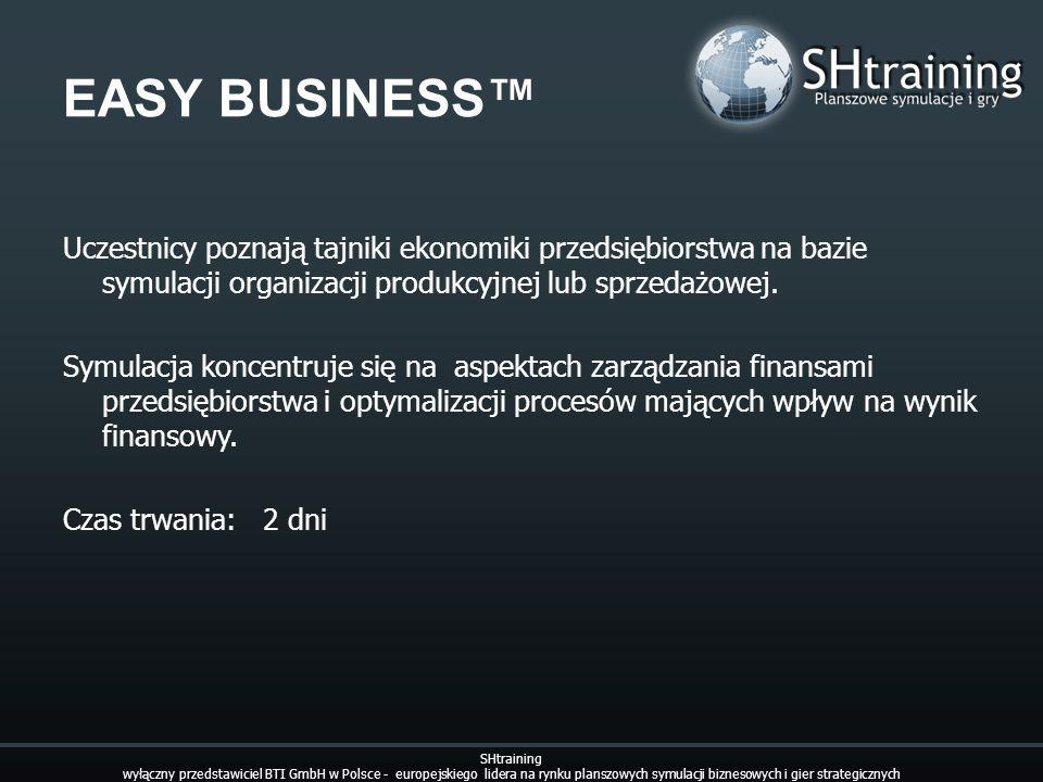 EASY BUSINESS™ Uczestnicy poznają tajniki ekonomiki przedsiębiorstwa na bazie symulacji organizacji produkcyjnej lub sprzedażowej.