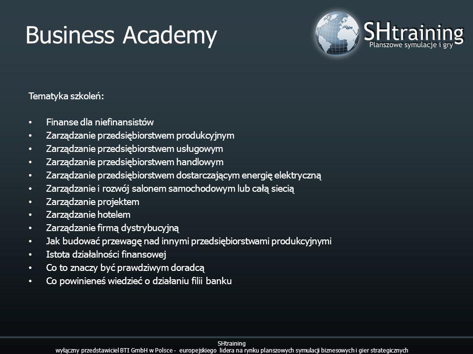 Business Academy Tematyka szkoleń: Finanse dla niefinansistów