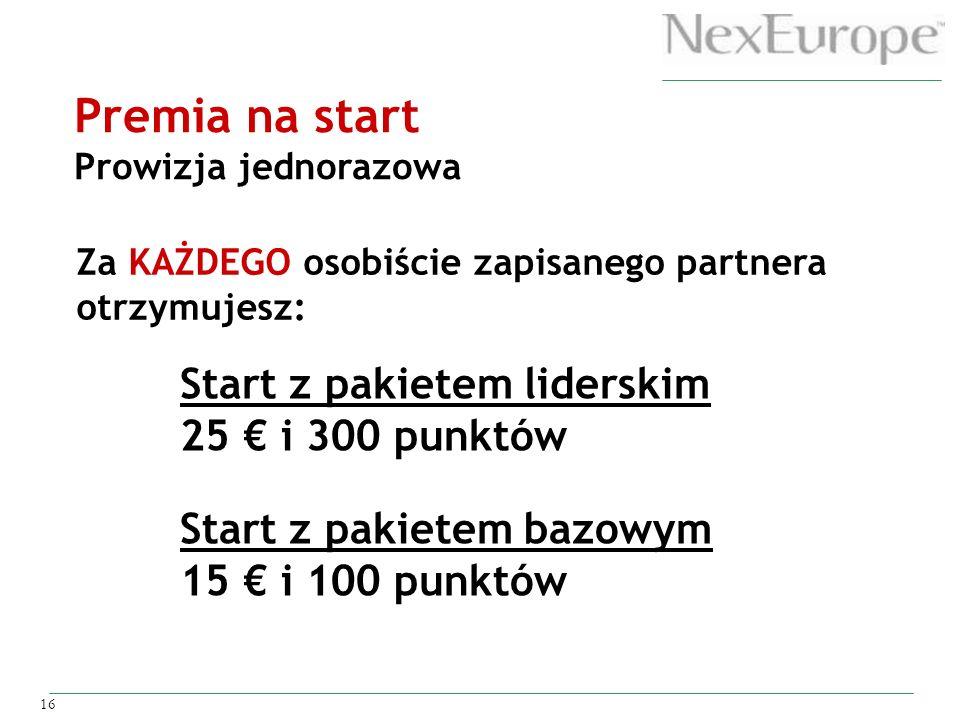 Premia na start Start z pakietem liderskim 25 € i 300 punktów