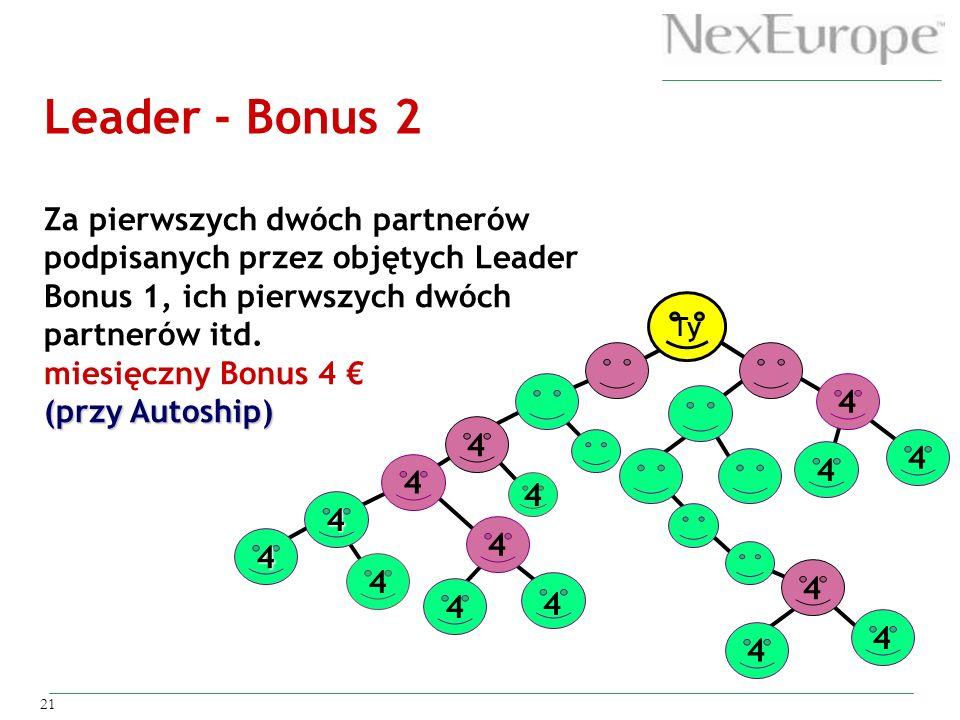 Leader - Bonus 2 Za pierwszych dwóch partnerów podpisanych przez objętych Leader Bonus 1, ich pierwszych dwóch partnerów itd.