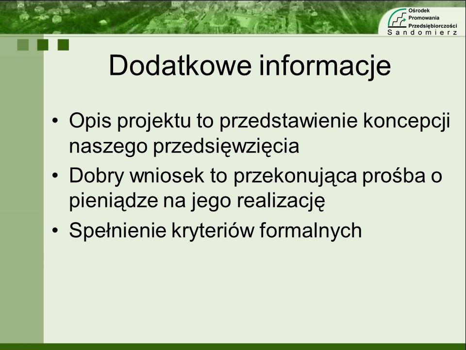 Dodatkowe informacjeOpis projektu to przedstawienie koncepcji naszego przedsięwzięcia.