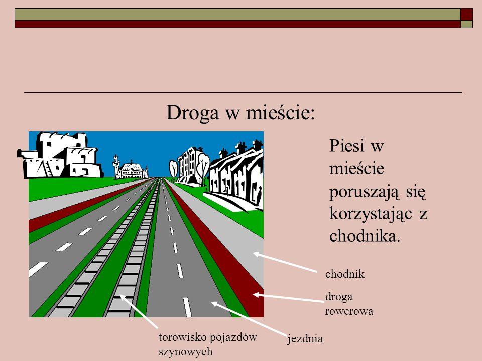 Droga w mieście: Piesi w mieście poruszają się korzystając z chodnika.
