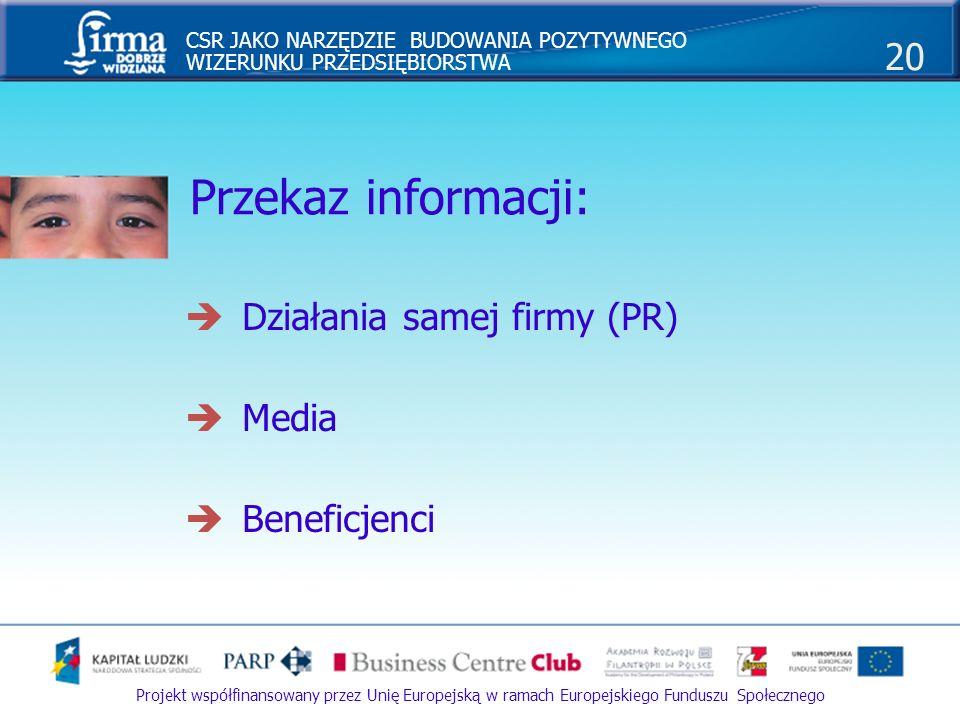 Przekaz informacji: Działania samej firmy (PR) Media Beneficjenci
