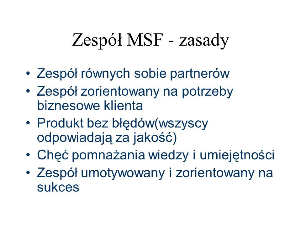 Zespół MSF - zasady Zespół równych sobie partnerów