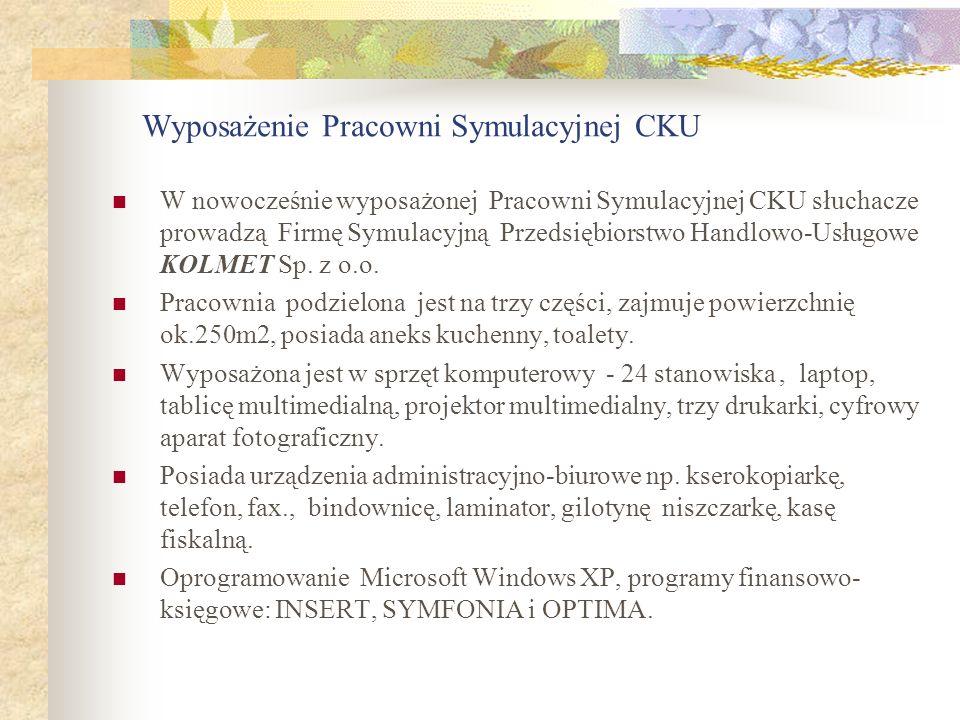 Wyposażenie Pracowni Symulacyjnej CKU