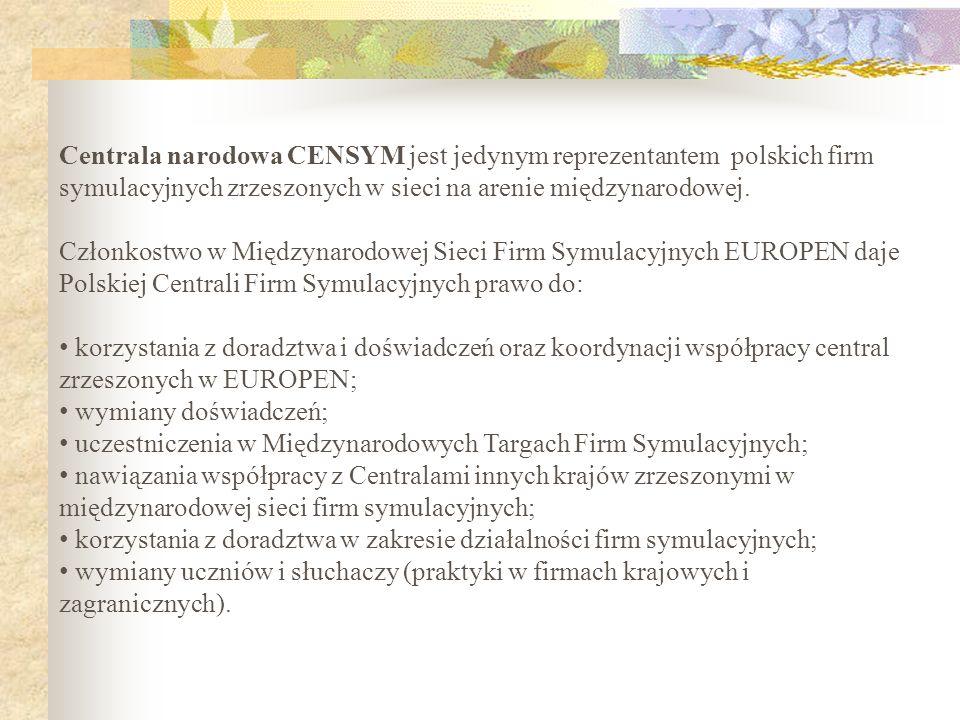 Centrala narodowa CENSYM jest jedynym reprezentantem polskich firm symulacyjnych zrzeszonych w sieci na arenie międzynarodowej.