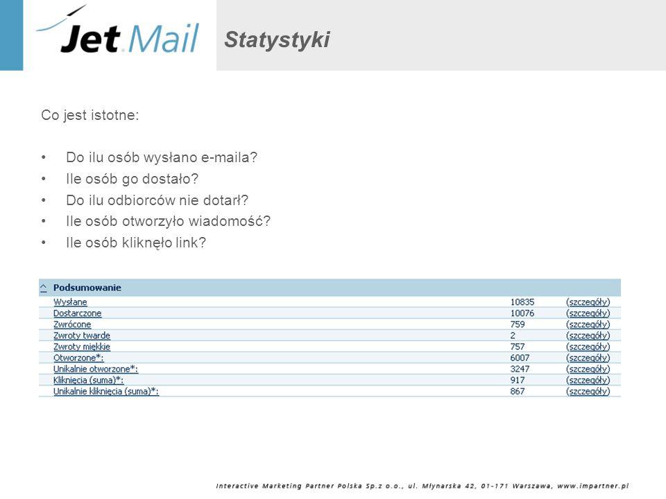 Statystyki Co jest istotne: Do ilu osób wysłano e-maila