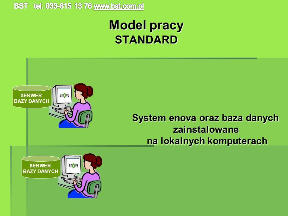 System enova oraz baza danych na lokalnych komputerach