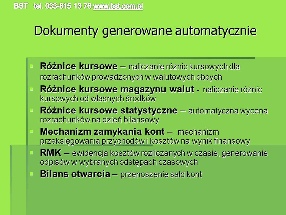 Dokumenty generowane automatycznie