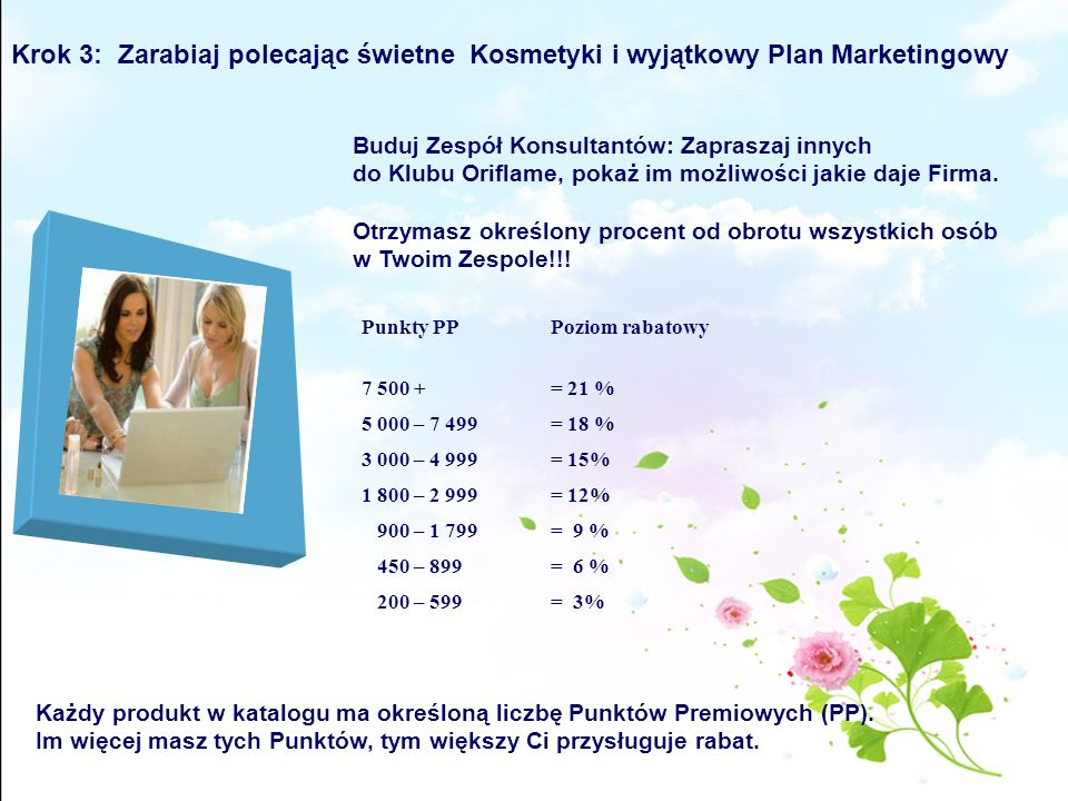 Krok 3: Zarabiaj polecając świetne Kosmetyki i wyjątkowy Plan Marketingowy