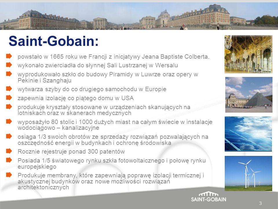 Saint-Gobain: powstało w 1665 roku we Francji z inicjatywy Jeana Baptiste Colberta. wykonało zwierciadła do słynnej Sali Lustrzanej w Wersalu.