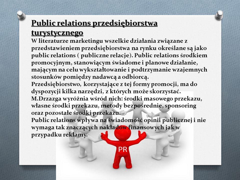 Public relations przedsiębiorstwa turystycznego W literaturze marketingu wszelkie działania związane z przedstawieniem przedsiębiorstwa na rynku określane są jako public relations ( publiczne relacje).
