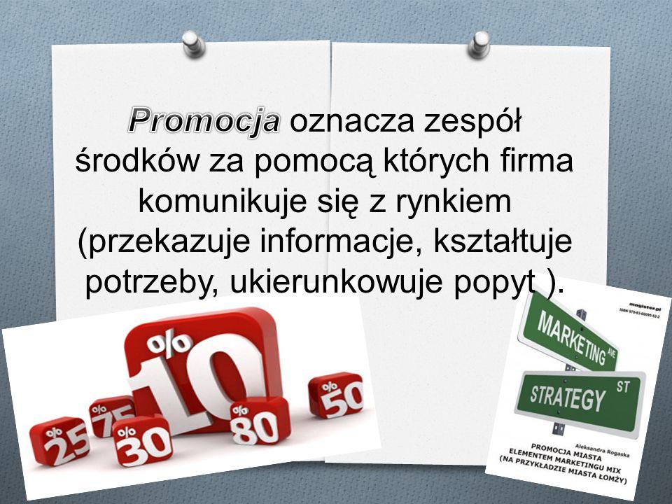 Promocja oznacza zespół środków za pomocą których firma komunikuje się z rynkiem (przekazuje informacje, kształtuje potrzeby, ukierunkowuje popyt ).