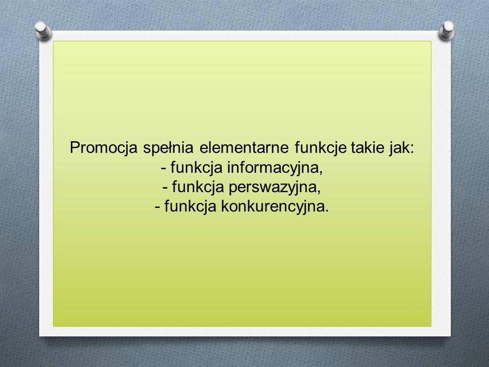 Promocja spełnia elementarne funkcje takie jak: - funkcja informacyjna, - funkcja perswazyjna, - funkcja konkurencyjna.