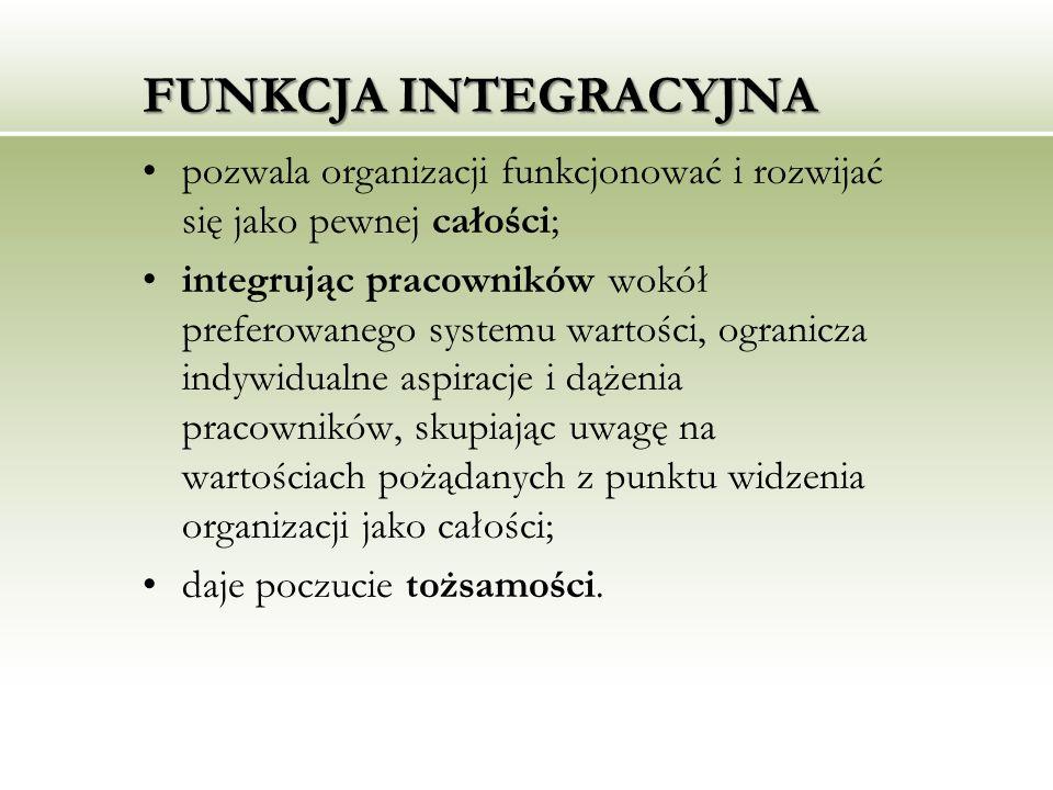FUNKCJA INTEGRACYJNA pozwala organizacji funkcjonować i rozwijać się jako pewnej całości;