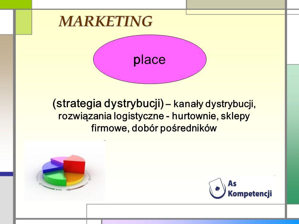MARKETING place. (strategia dystrybucji) – kanały dystrybucji, rozwiązania logistyczne - hurtownie, sklepy firmowe, dobór pośredników.