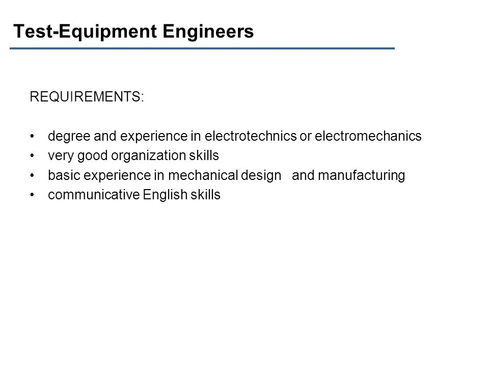 Test-Equipment Engineers