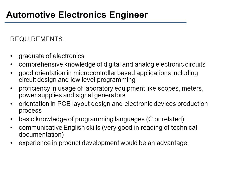 Automotive Electronics Engineer