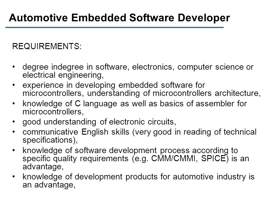 Automotive Embedded Software Developer
