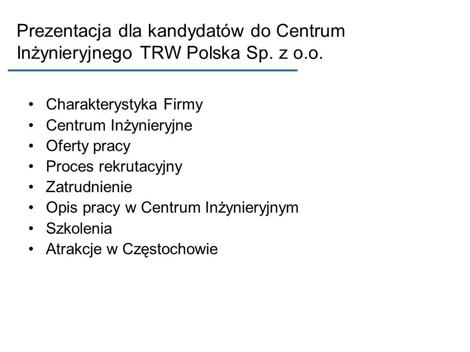 Prezentacja dla kandydatów do Centrum Inżynieryjnego TRW Polska Sp. z o.o.