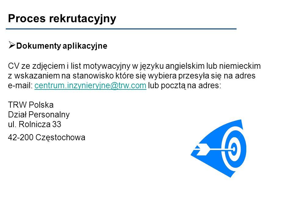 Proces rekrutacyjny Dokumenty aplikacyjne