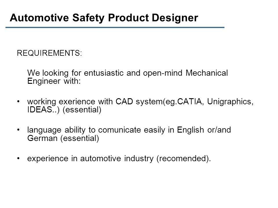 Automotive Safety Product Designer