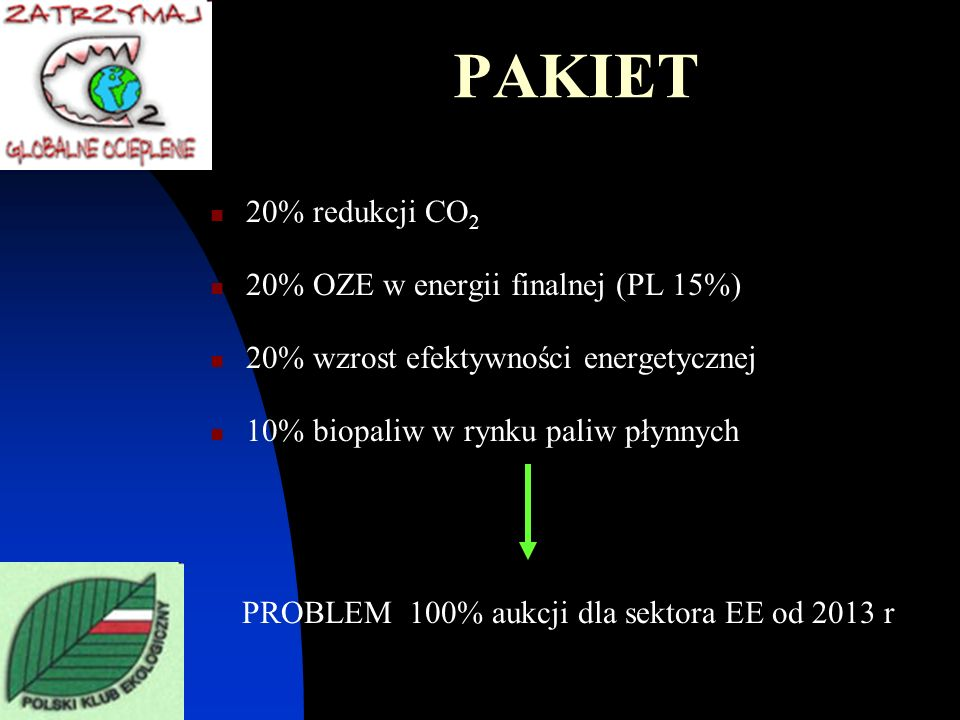 PROBLEM 100% aukcji dla sektora EE od 2013 r
