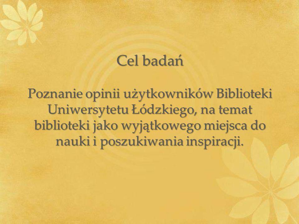 Cel badań Poznanie opinii użytkowników Biblioteki Uniwersytetu Łódzkiego, na temat biblioteki jako wyjątkowego miejsca do nauki i poszukiwania inspiracji.