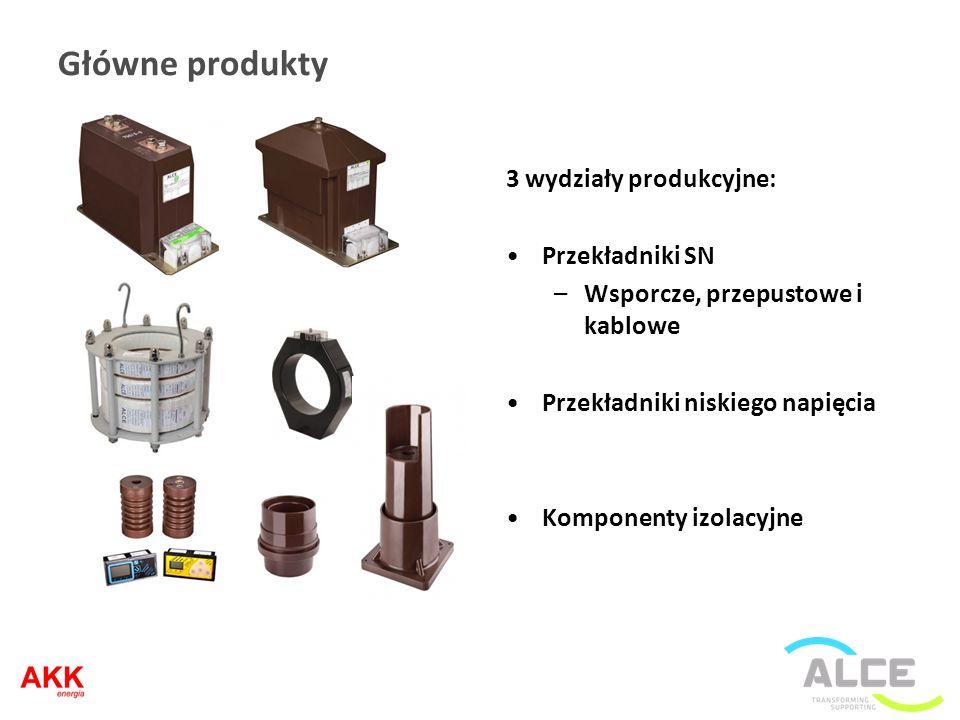 Główne produkty 3 wydziały produkcyjne: Przekładniki SN