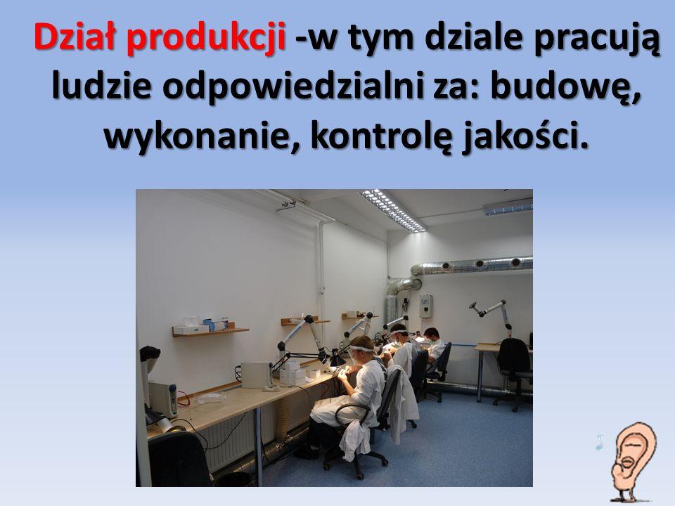 Dział produkcji -w tym dziale pracują ludzie odpowiedzialni za: budowę, wykonanie, kontrolę jakości.