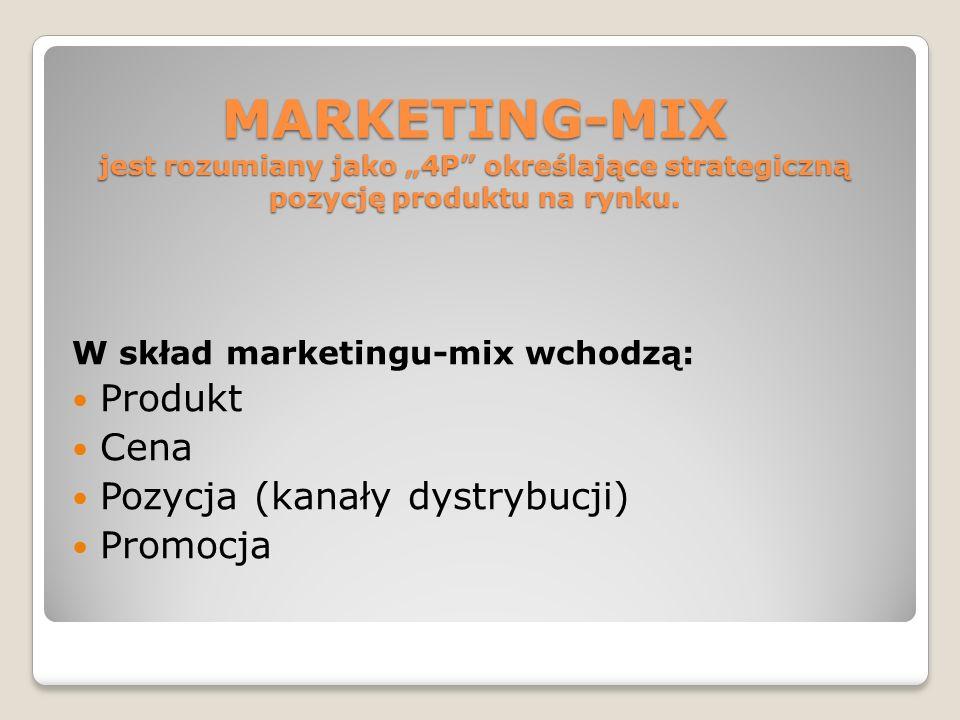 """MARKETING-MIX jest rozumiany jako """"4P określające strategiczną pozycję produktu na rynku."""