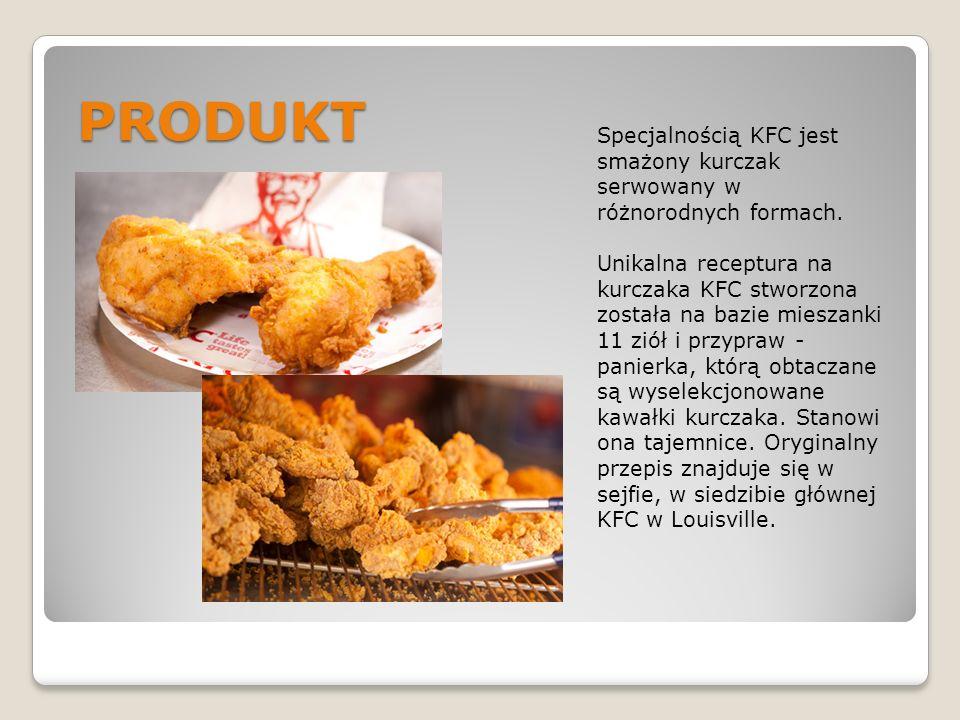 PRODUKT Specjalnością KFC jest smażony kurczak serwowany w różnorodnych formach.