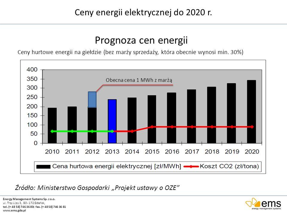 Ceny energii elektrycznej do 2020 r.