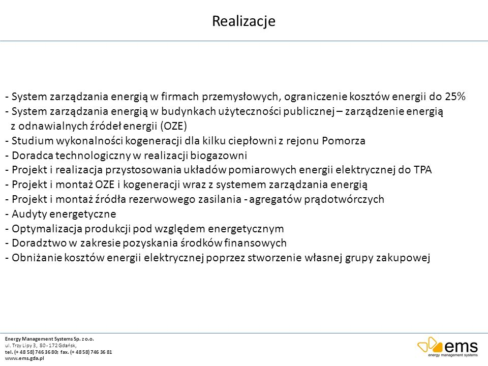 Realizacje - System zarządzania energią w firmach przemysłowych, ograniczenie kosztów energii do 25%