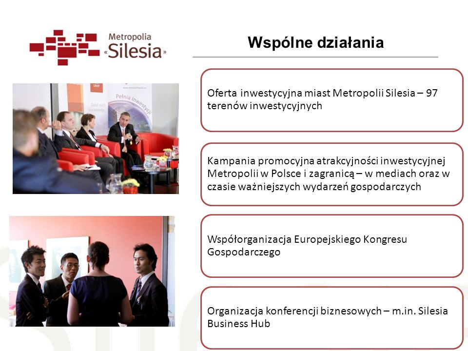 Wspólne działania Oferta inwestycyjna miast Metropolii Silesia – 97 terenów inwestycyjnych.