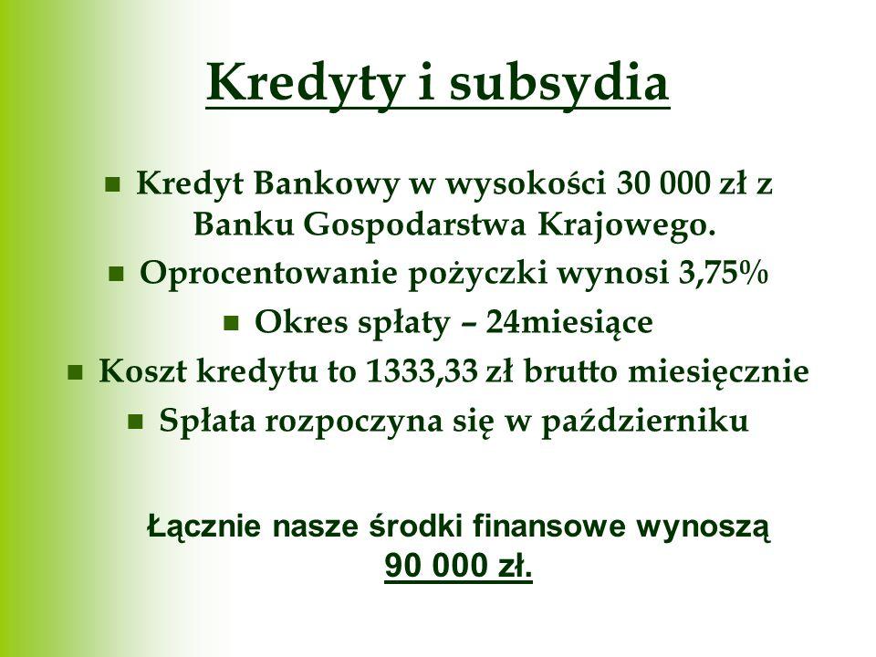 Kredyty i subsydia Kredyt Bankowy w wysokości 30 000 zł z Banku Gospodarstwa Krajowego. Oprocentowanie pożyczki wynosi 3,75%