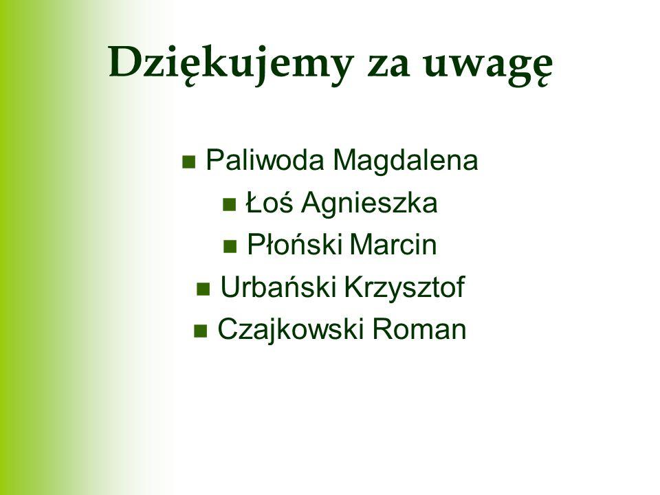 Dziękujemy za uwagę Paliwoda Magdalena Łoś Agnieszka Płoński Marcin